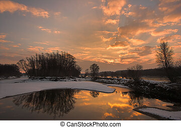 Dawn at the river - Picture of a sidearm of the river Danube...