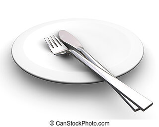 Place setting - 3D render of a plate with a knife and fork