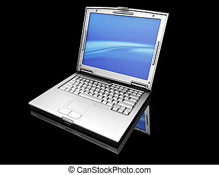 Laptop - 3D render of a titanium laptop on a black...