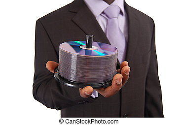 Data Storage - This is an image of a business man holding a...