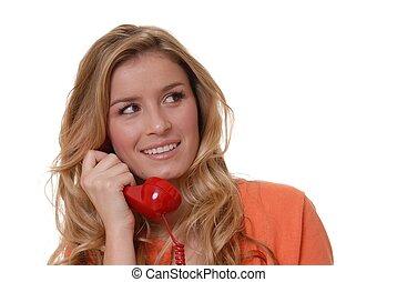 Lovely Girl on Phone - Lovely girl on standard telephone