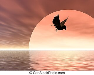 Flying Home - Illustrated song bird flying over the sea at...