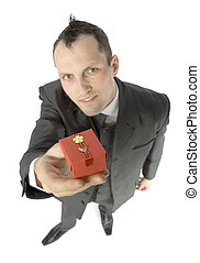 man with small gift box