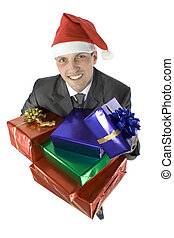 man with christmas gifts - isolated man with gifts wearing...