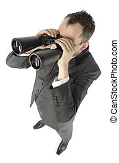 businessman with binoculars - business concept - businessman...