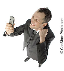 businessman with cell phone - happy businessman looking at...