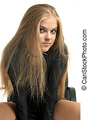 aggressor - smiling girl in aggressive outfit