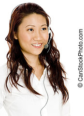 Ready To Help - A pretty young asian woman with headset