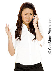Frustrating - A young asian businesswoman shows her...