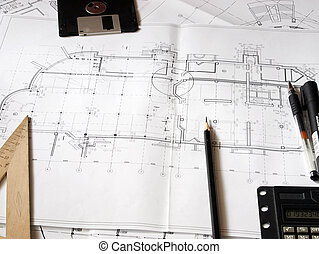 Construction blueprints and drawing tools