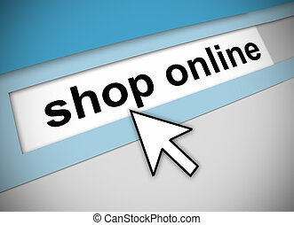 Pointing to shop online - Graphic of address bar on computer...