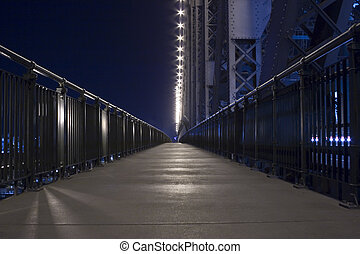 night time on story bridge footpath - pedestrian walkway by...