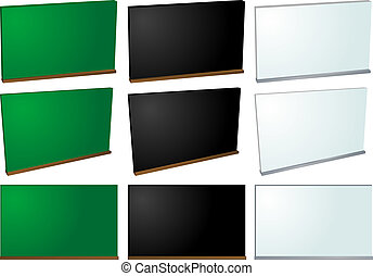 Chalkboard and whiteboard , blank and from different angles
