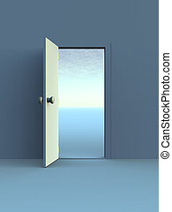 Open Door - 3D rendered Illustration