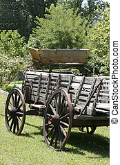 antique wagon - weathered wooden wagon