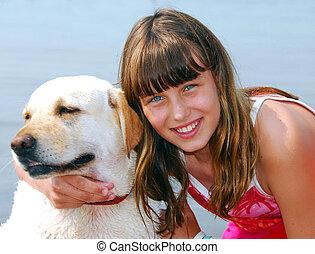 menina, cão, Retrato