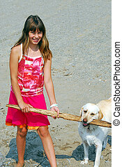 Girl play dog