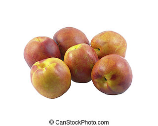 Nectarines Isolated - Six nectarines isolated against a...