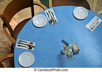 Dining table in a restaurant
