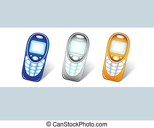 Cell Phones - Three cellular telephones in different colors....