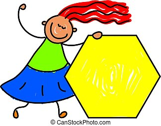 hexagon kid - learning shapes at kindergarten - toddler art...