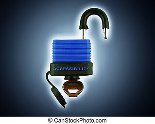 Access Backlight - Padlock with accessibility text. Complete...
