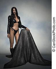 Fashion-Black Jacket - 3D Render