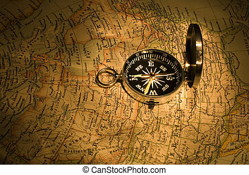 compass on map close-up