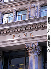 Bank building - Old building with letters BANK on it