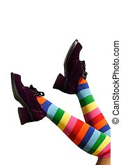 Happy Kicking Feet - Striped knee-hi socks and wickedly...