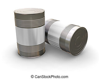 Blank cans - 3D render of tin cans with a blank label