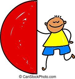 semi, círculo, criança