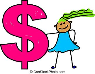 dollar kid - Child with dollar symbol - toddler art series