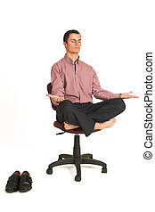 Business Yoga 179 - Business man fighting tension relaxing...