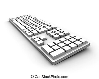 Keyboard - white - Symbolic 3D render Isolated on white