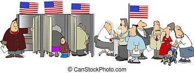 Election Day - This illustration depicts Americans voting.