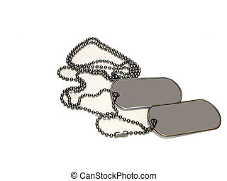 Blank Dog Tags over white - Blank dog tags oner white on a...