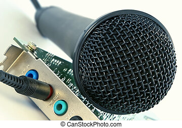 Microphone and computer sound card - Studio microphone and...