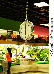 Grocery weight scale at a grocery store