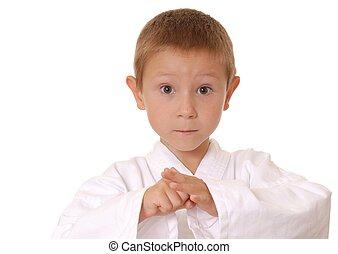 nuevo, karate, niño, cuatro