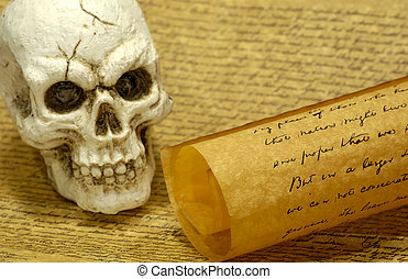 Skull and old Parchments - Witchcraft Concept