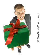 man with gift - isolated man with gift focus on gift