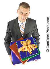 man with gifts - isolated man with gifts
