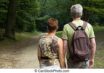 Senior couple hiking -1