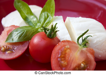 Mozzarella cheese salad on red - Closeup photograph of...