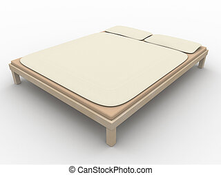Bed 1 - 3D rendered Futon. Natural rough textile material....