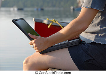 Laptop by the water