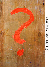 question mark painted on wood