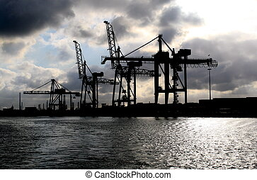 cargo, container, crane, derrick, harbor, heavy weigh, long