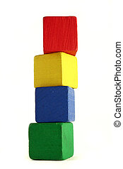child blocks - height - four wooden childrens blocks of...